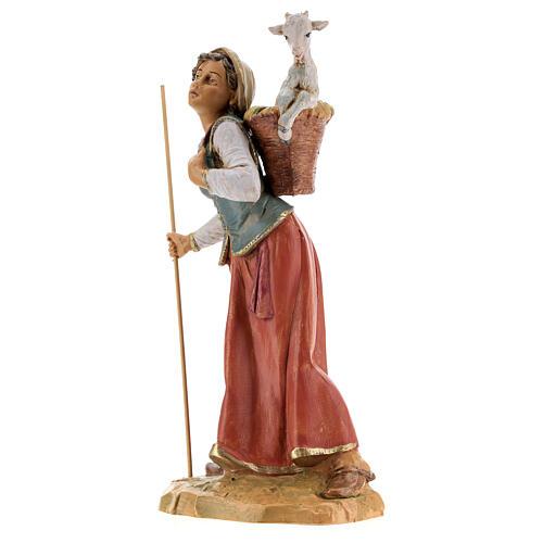 Femme avec hotte et mouton Fontanini 30 cm 3