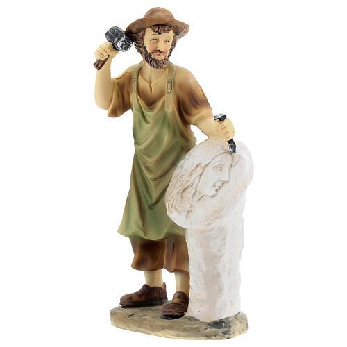Escultor figura para presépio resina 14 cm 2
