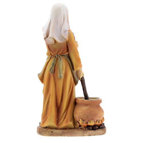 Woman cook statue resin nativity 14 cm 4