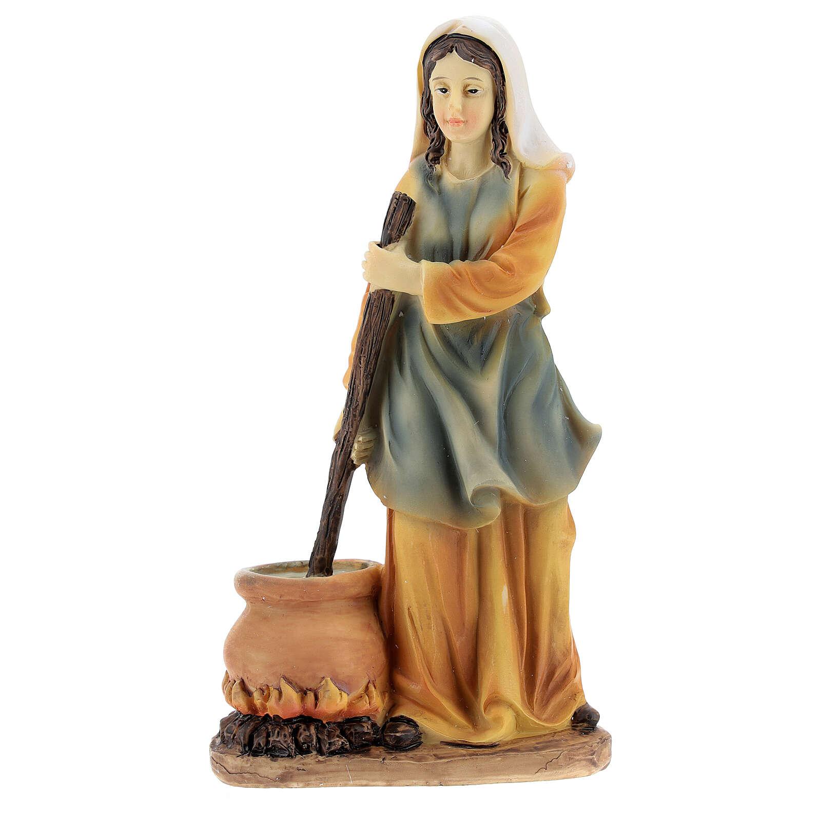 Woman cook statue resin nativity 14 cm 3