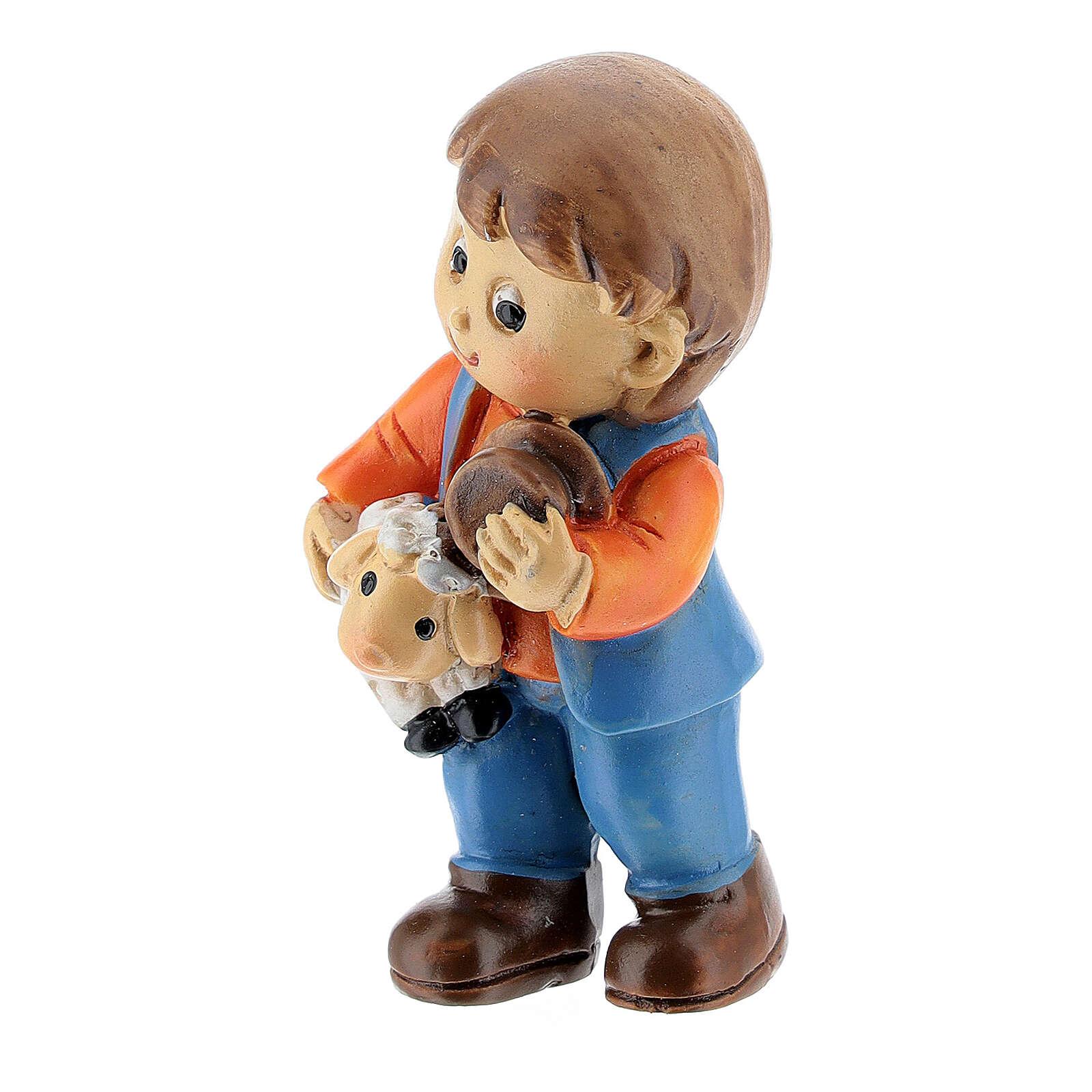 Pastor com ovelha nos braços Presépio para Crianças altura média 4 cm 3