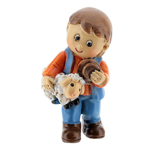 Shepherd with sheep in arm kids lines 4 cm 1