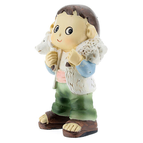 Shepherd carrying sheep childrens nativity set 10 cm 2