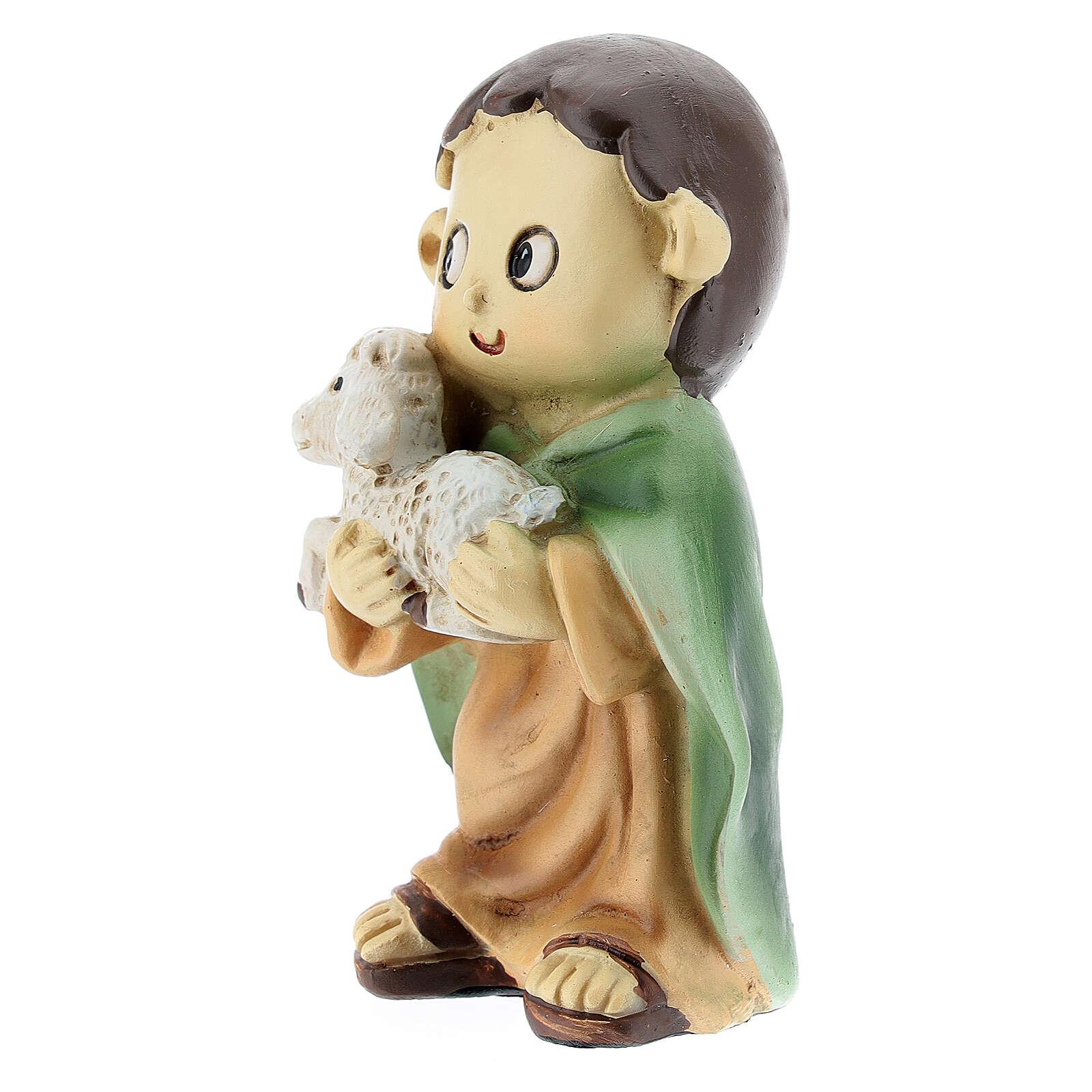 Pastor com ovelha nos braços figura resina Presépio para Crianças altura média 10 cm 3
