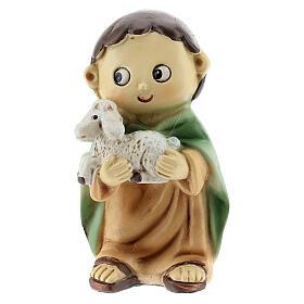 Pastor com ovelha nos braços figura resina Presépio para Crianças altura média 10 cm s1
