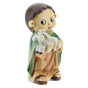 Pastor com ovelha nos braços figura resina Presépio para Crianças altura média 10 cm s3
