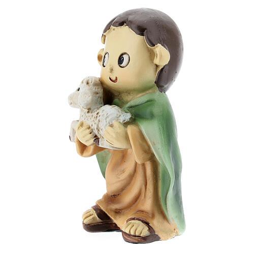 Pastor com ovelha nos braços figura resina Presépio para Crianças altura média 10 cm 2