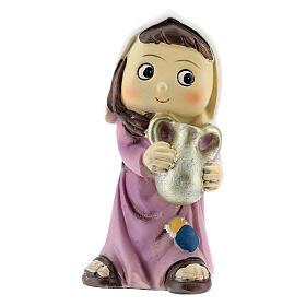 Girl farmer statue with jug 10 cm kids nativity line s1
