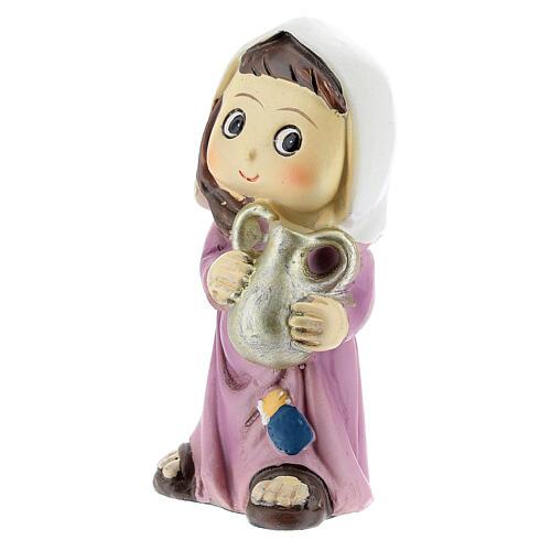 Girl farmer statue with jug 10 cm kids nativity line 2