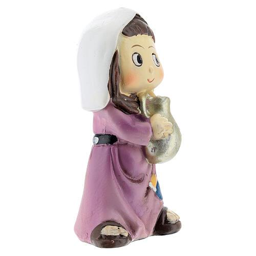 Girl farmer statue with jug 10 cm kids nativity line 3