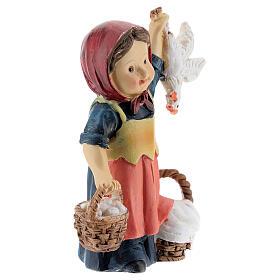 Shepherdess statue with eggs 9 cm kids nativity line s3