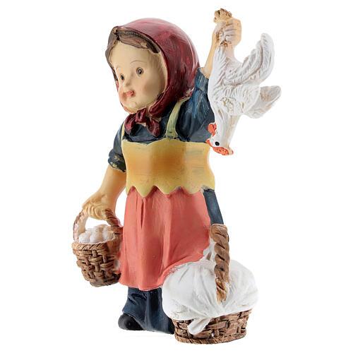 Shepherdess statue with eggs 9 cm kids nativity line 2