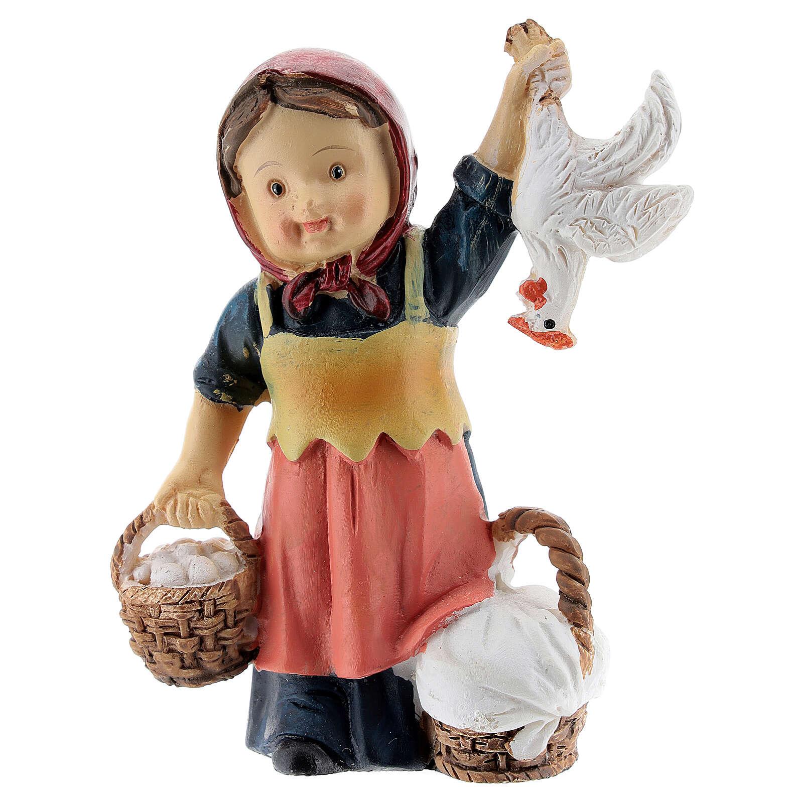 Pastorinha com ovos e galinha resina Presépio para Crianças altura média 9 cm 3