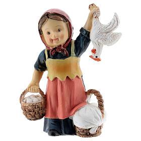 Pastorinha com ovos e galinha resina Presépio para Crianças altura média 9 cm s1