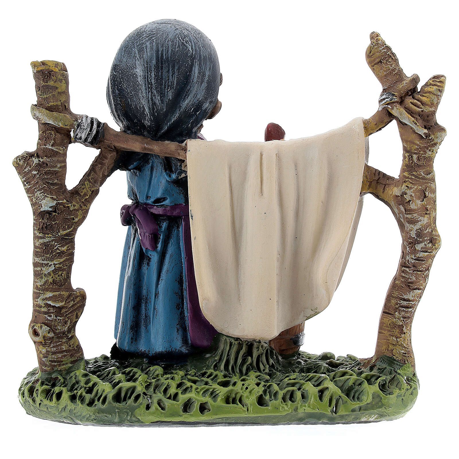 Woman hanging laundry kids nativity line 9 cm 3