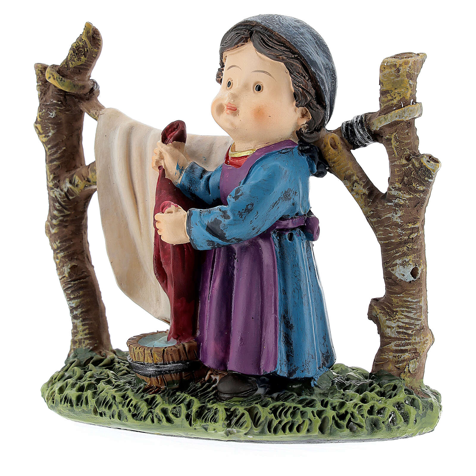 Woman hanging laundry kids nativity line 9 cm 3