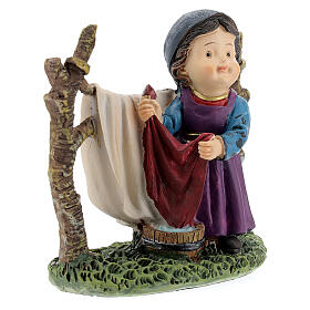 Woman hanging laundry kids nativity line 9 cm s3