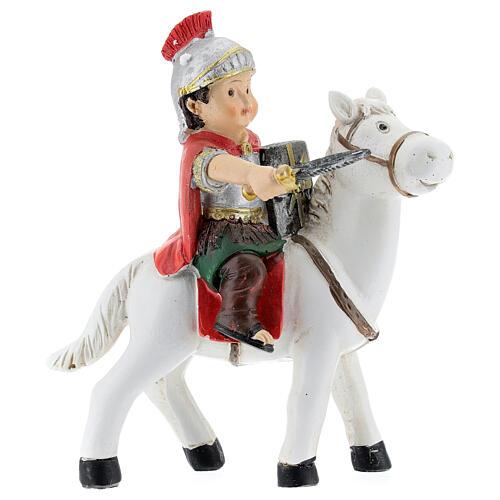 Soldado a cavalo resina Presépio para Crianças altura média 9 cm 1