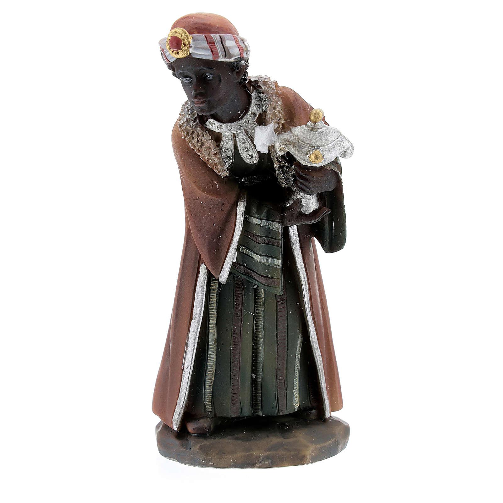 Reis Magos adorando figuras resina para presépio altura média 12 cm 3