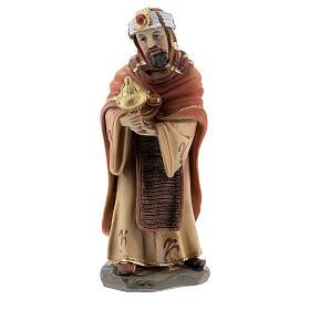 Reis Magos adorando figuras resina para presépio altura média 12 cm s3