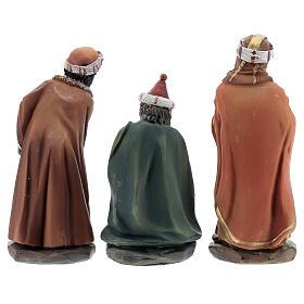Reis Magos adorando figuras resina para presépio altura média 12 cm s5