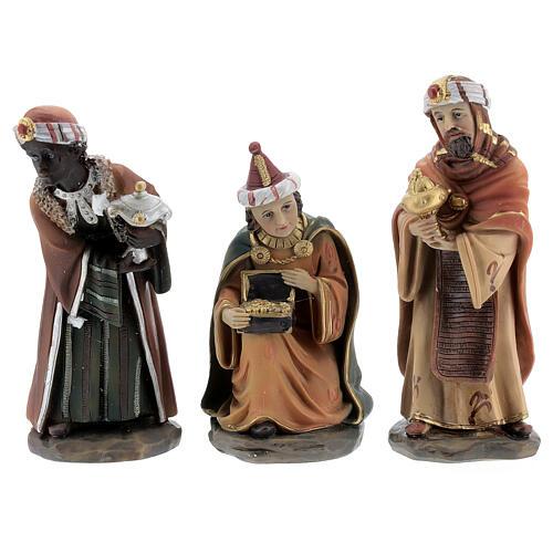 Reis Magos adorando figuras resina para presépio altura média 12 cm 1