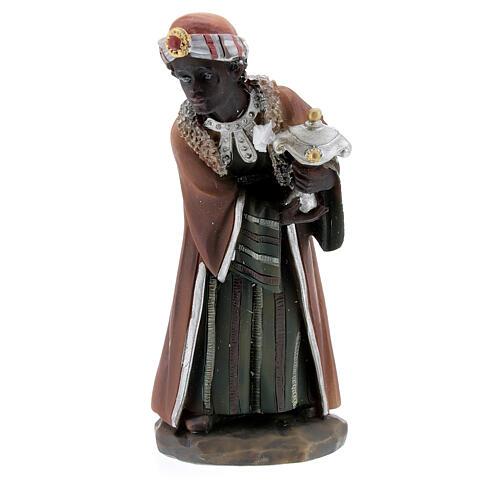 Reis Magos adorando figuras resina para presépio altura média 12 cm 2