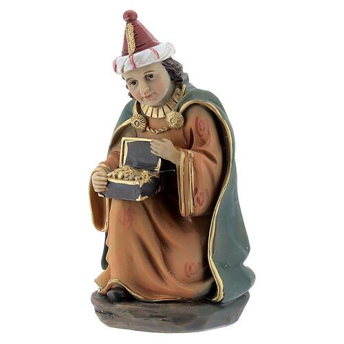Reis Magos adorando figuras resina para presépio altura média 12 cm 4