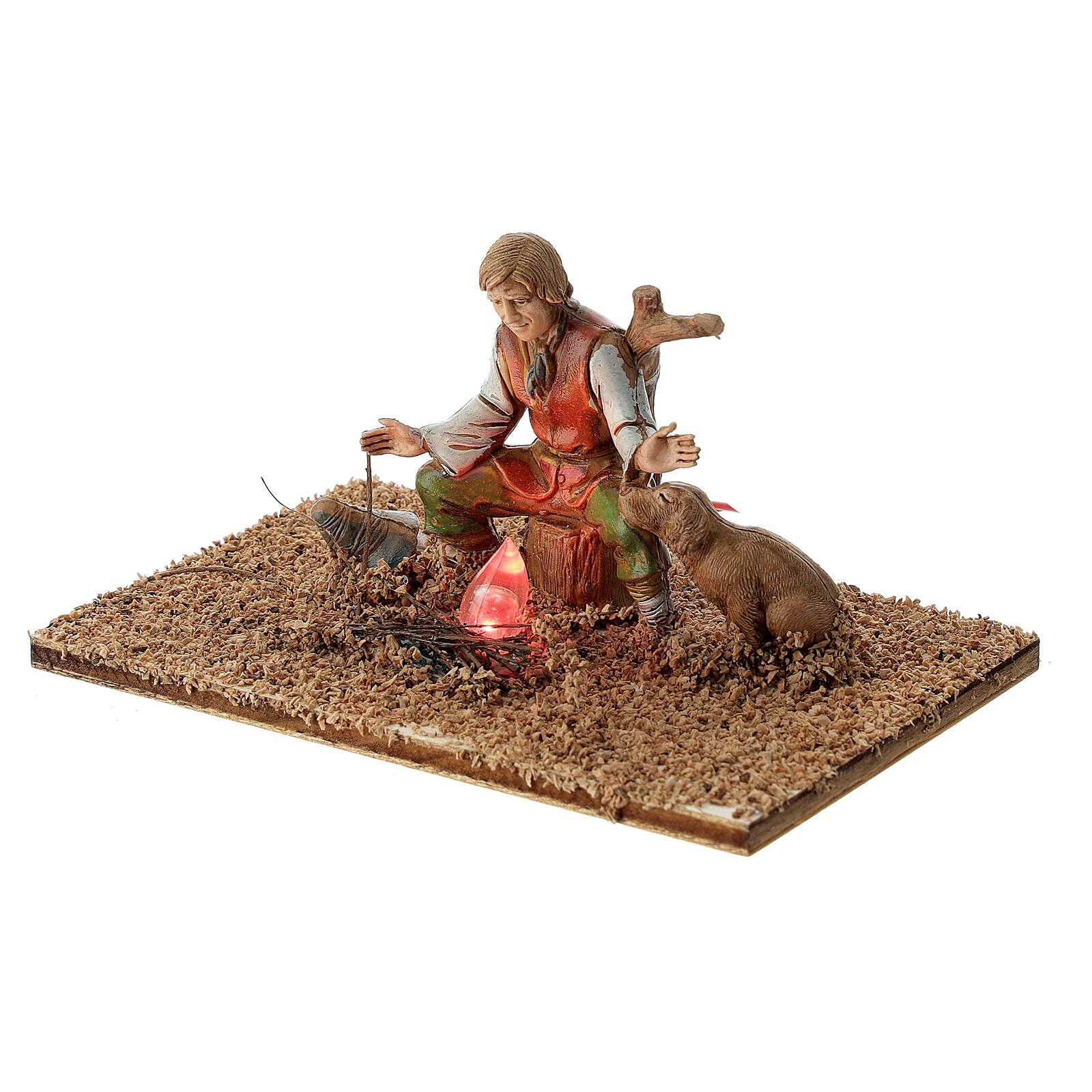 Hirte mit Hund und Lampe Flammeneffekt für 10 cm Moranduzzo Krippe 4