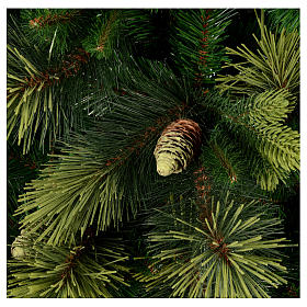 Sapin de Noël 210 cm vert avec pommes de pin modèle Carolina s2