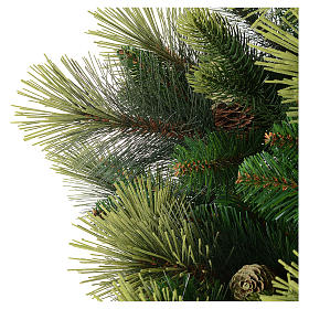 Sapin de Noël 210 cm vert avec pommes de pin modèle Carolina s4
