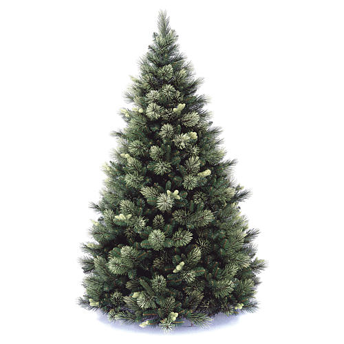 Sapin de Noël 210 cm vert avec pommes de pin modèle Carolina 1