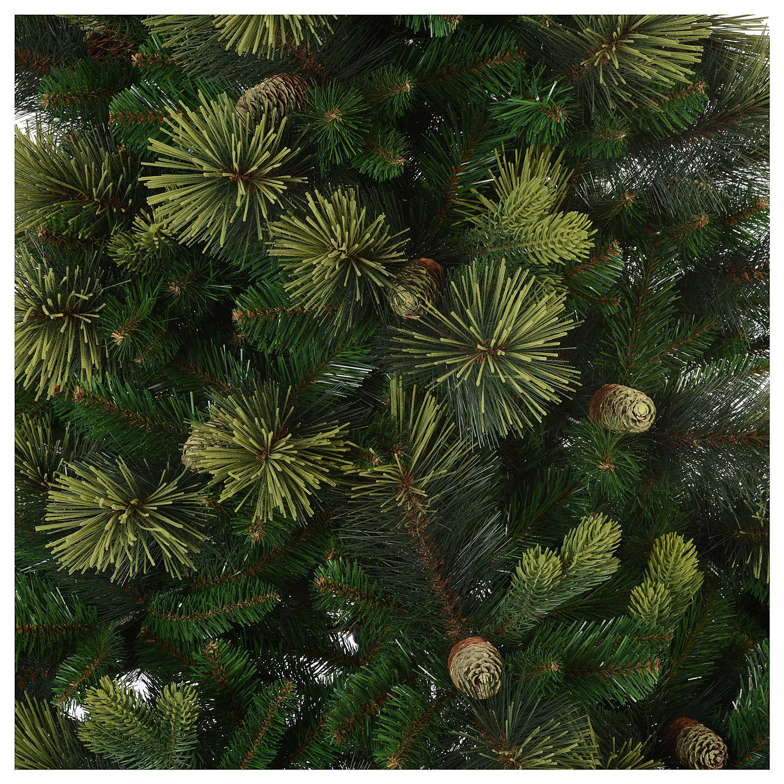 Albero di Natale 210 cm verde con pigne modello Carolina 3