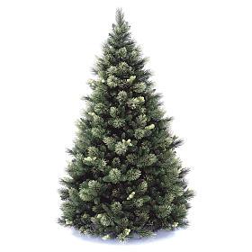 Sapin de Noël 225 cm couleur vert avec pommes de pin Carolina s1