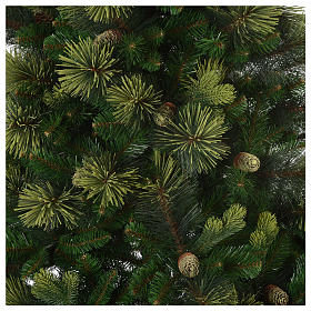Sapin de Noël 225 cm couleur vert avec pommes de pin Carolina s3