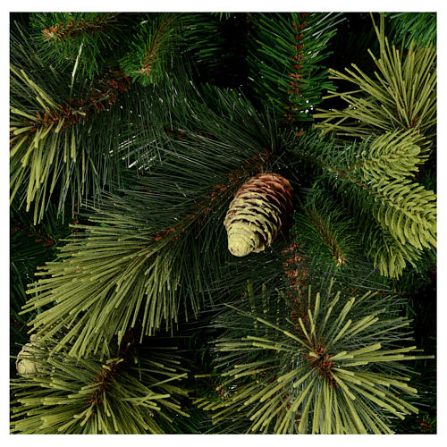 Sapin de Noël 225 cm couleur vert avec pommes de pin Carolina 2