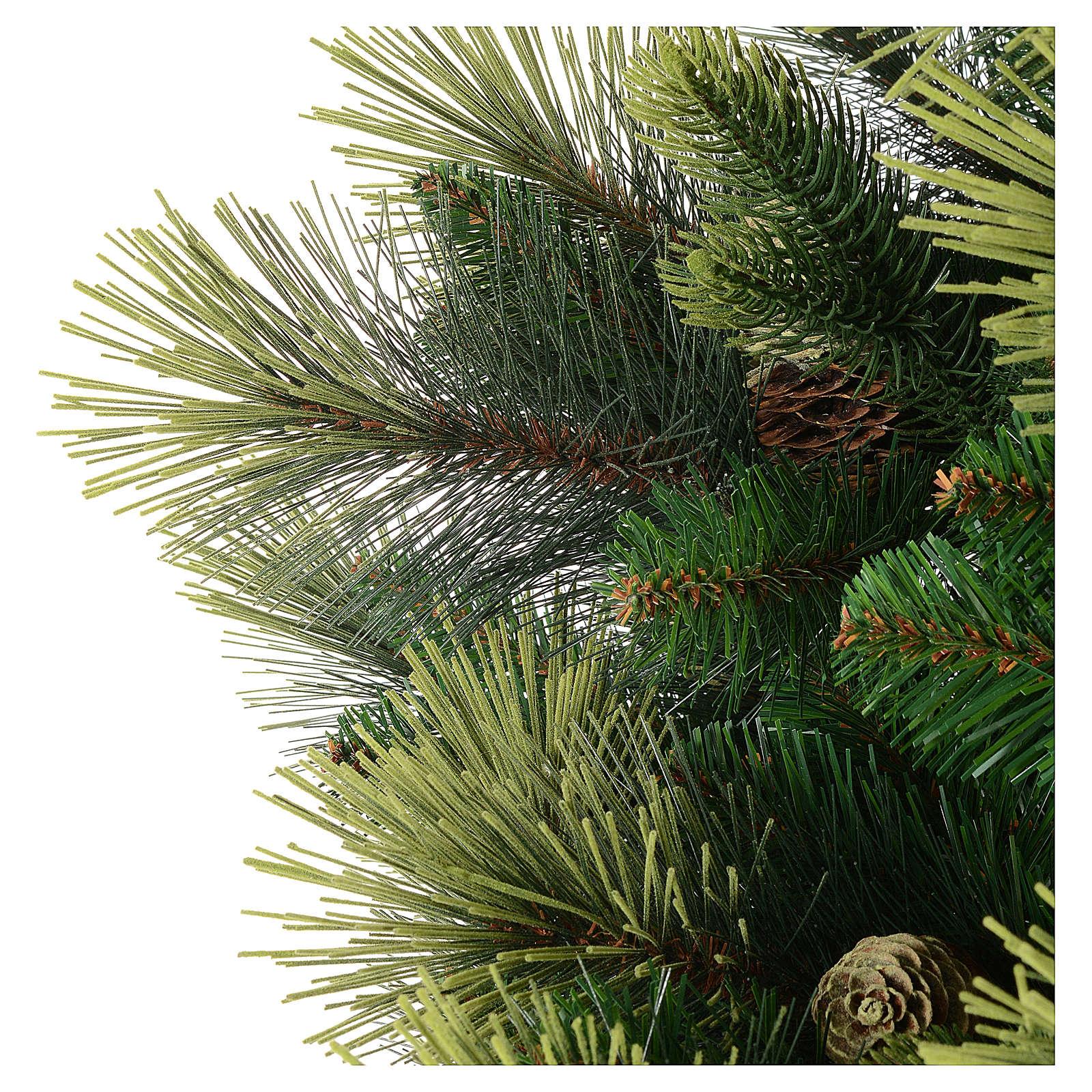 Albero di Natale 225 cm colore verde con pigne modello Carolina 3