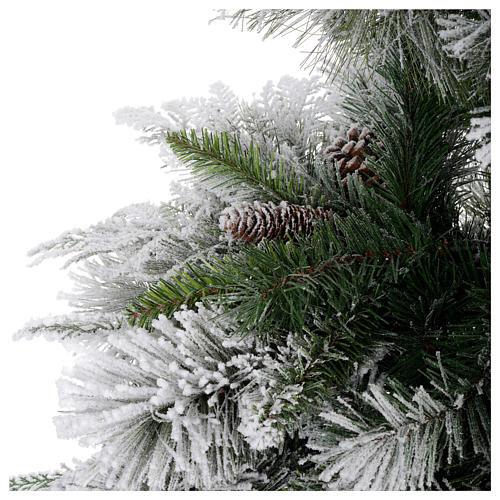 Grüner Weihnachtsbaum mit Schnee und Zapfen 180cm Mod. Bedford PVC 4