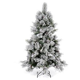 Albero di Natale 180 cm floccato pigne pvc Bedford s1