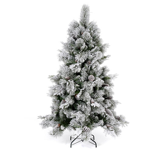 Albero di Natale 180 cm floccato pigne pvc Bedford 1