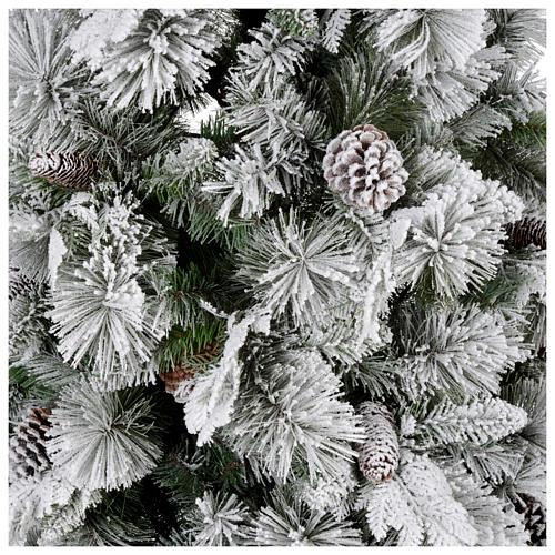 Albero di Natale 180 cm floccato pigne pvc Bedford 2