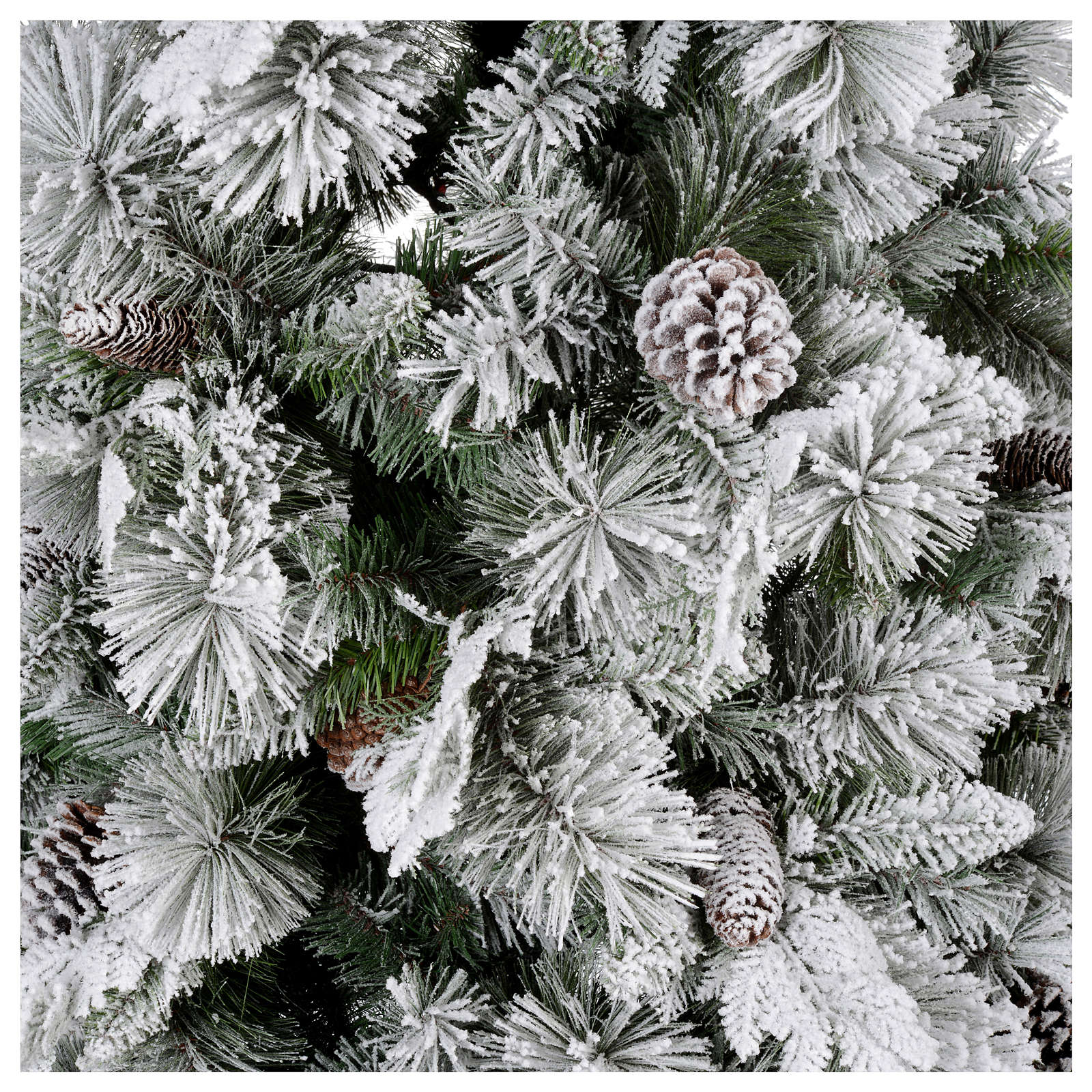 Albero di Natale 210 cm pigne floccato Bedford 3