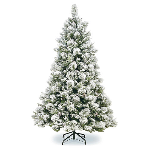 Albero di Natale 210 cm pigne floccato Bedford 1