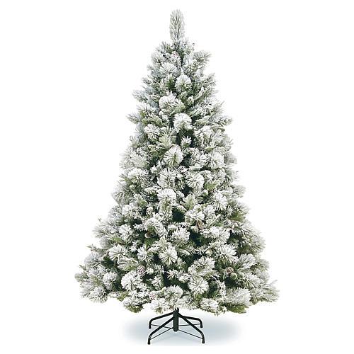 Árvore de Natal 210 cm pinhas nevado Bedford 1