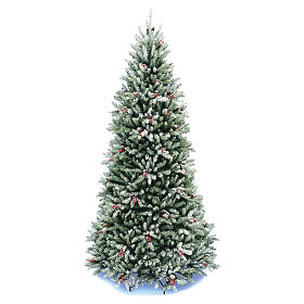 Slim Christmas tree 180 cm, Dunhill flocked with pine cones and berries s1