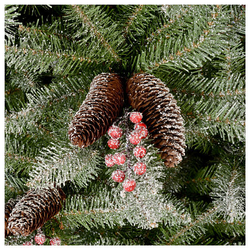 Slim Christmas tree 180 cm, Dunhill flocked with pine cones and berries 4