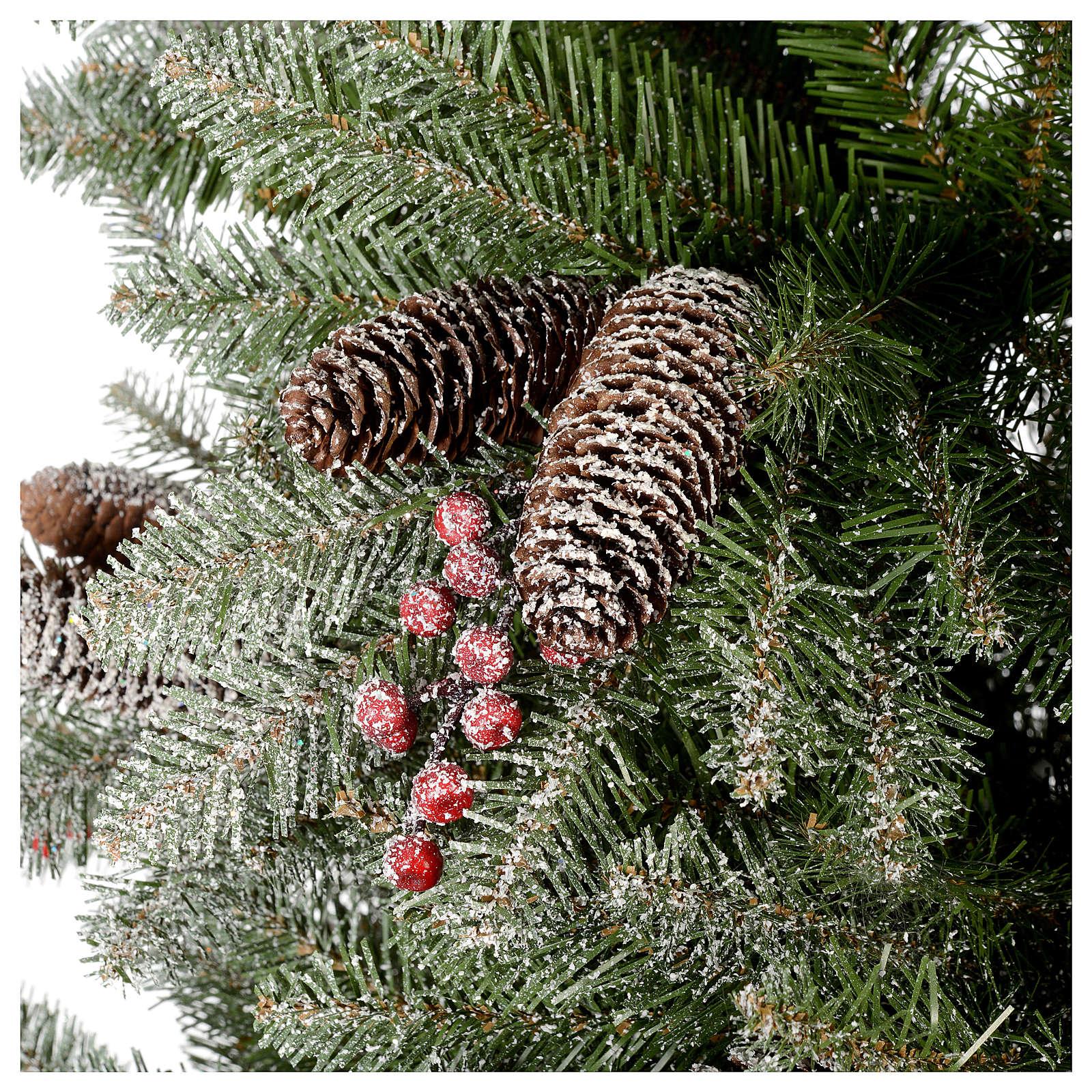 Albero di Natale 180 cm Slim floccato bacche pigne Dunhill 3
