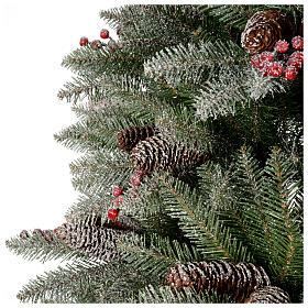 Albero di Natale 180 cm Slim floccato bacche pigne Dunhill s4