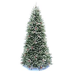 Albero di Natale 180 cm Slim floccato bacche pigne Dunhill s1