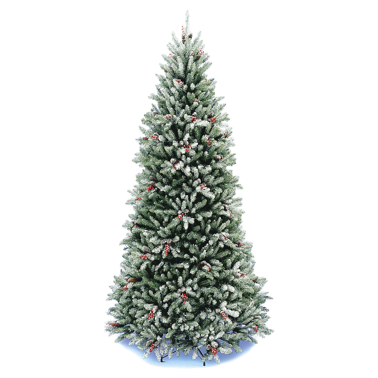 Christmas Tree With Pine Cones And Berries: Slim Christmas Tree 180 Cm, Flocked Dunhill With Pine